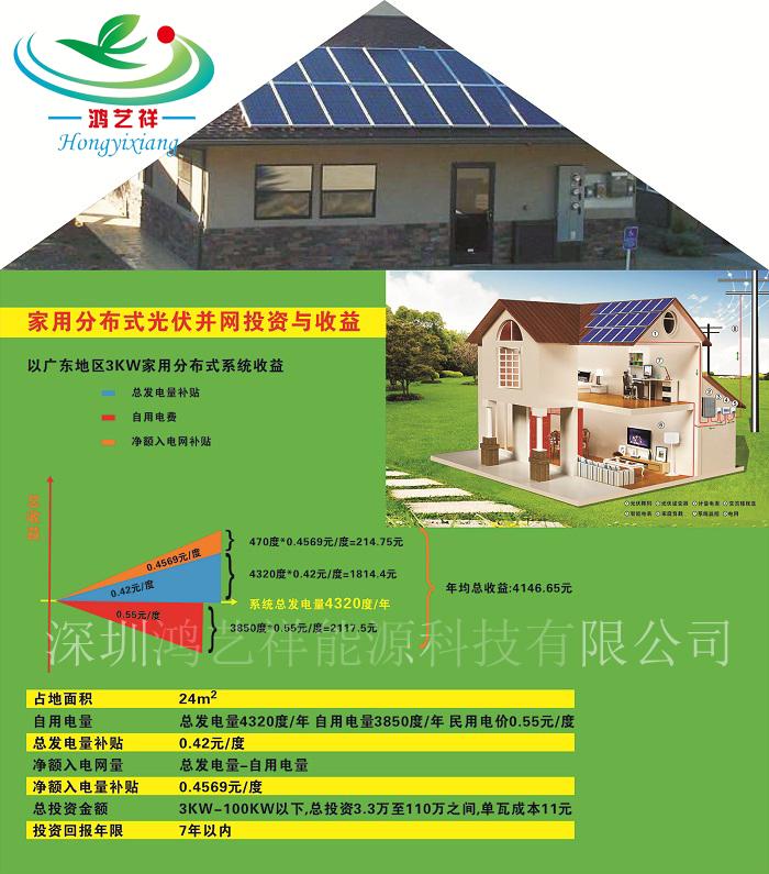 内蒙赤峰3kw家用光伏太阳能发电厂家