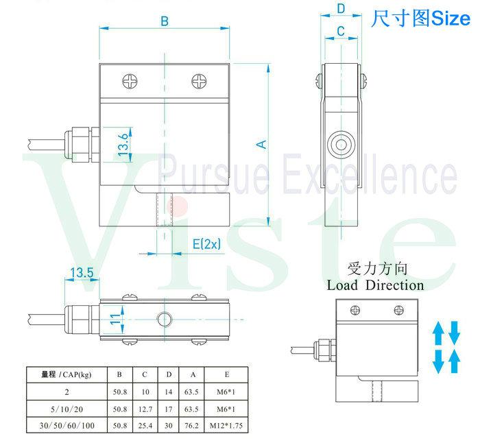 螺丝安装测力传感器/拉压力传感器/剪切梁式称重传感器2kg 5kg 10kg