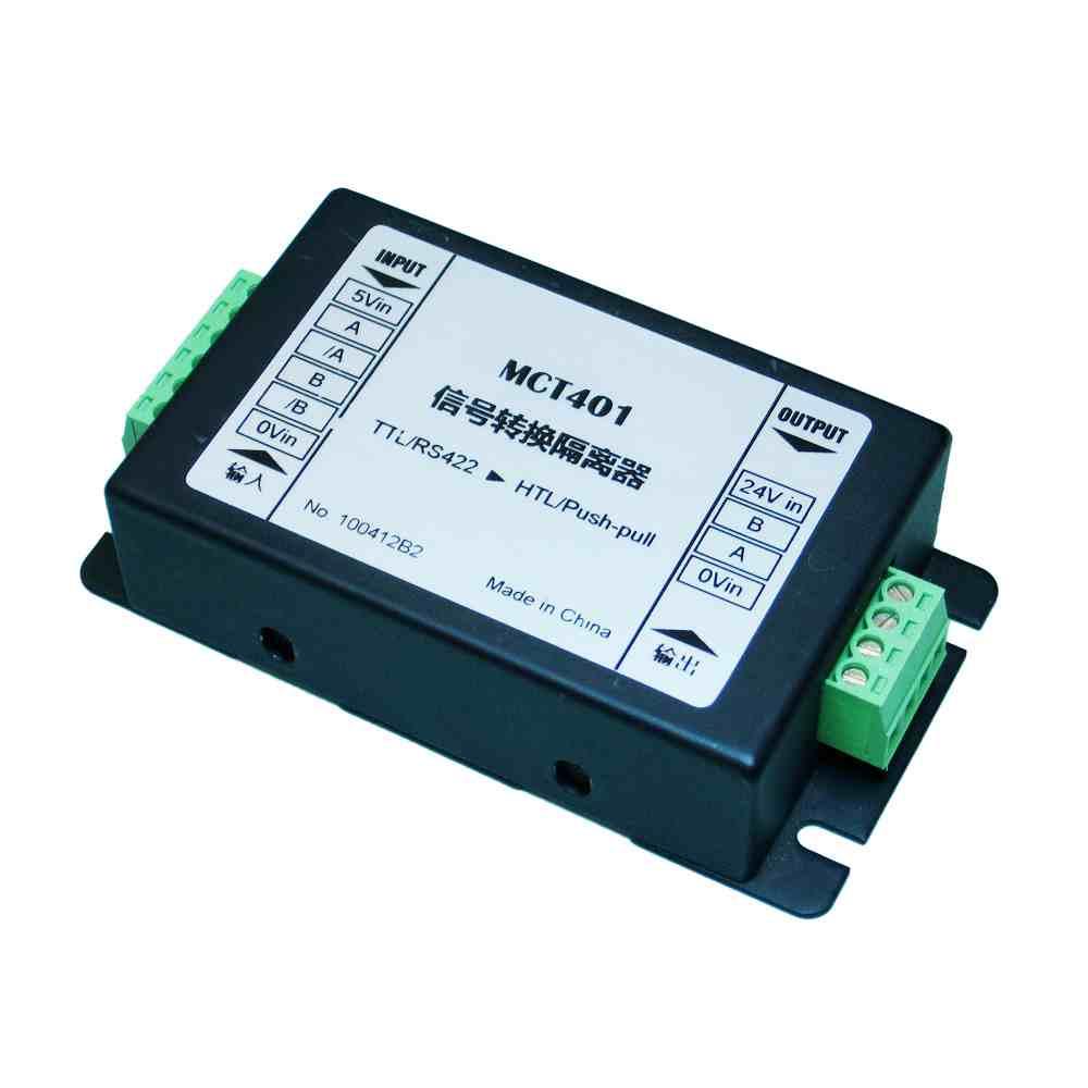 • 实现增量式编码器信号或类似差分信号由TTL/RS422(A,/A,B,/B)标准转换为HTL单端推挽式输出,兼容NPN / PNP输出 • 输入和输出之间采用高速光耦隔离,可以分隔保护敏感系统,提高系统间的抗干扰性能 • 常用于微处理器系统TTL与PLC之间高速数据传输转换接口,如将旋转编码器、光栅尺、伺服驱动器、变频器等TTL脉冲信号转换为PLC可接收的单端脉冲信号。