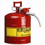 Justrite9.5L II类带软管易燃品钢制防火安储存罐,易燃液体安罐使用